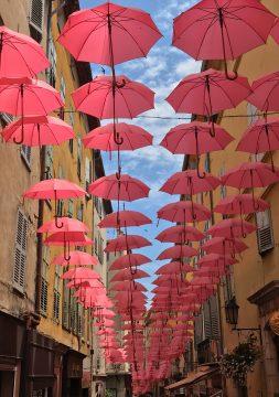 Pink umbrellas in France